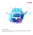 mobile with monitor icon - watercolor background vector image
