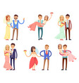 newlyweds in wedding gowns and festive suits set vector image vector image