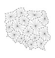 poland map of polygonal mosaic lines network rays vector image vector image
