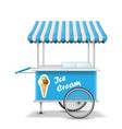 realistic street food cart with wheels mobile vector image