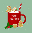 red cup with milk ginger biscuits tubules and vector image