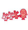 red silhouette caricatures of three reindeers and vector image vector image