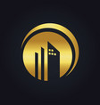 round building company gold logo vector image vector image