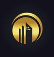 Round building company gold logo