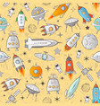 seamless pattern with space rockets and other vector image vector image