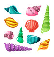 seashell marine summer sea or ocean objects vector image vector image