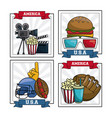 set of american sports and movies vector image