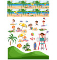 set of beach collection vector image vector image