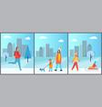 snowy wintertime city park vector image