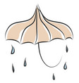 umbrella and raindrops color on white background vector image