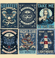 vintage marine posters set vector image vector image