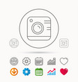 vintage photo camera icon photography sign vector image vector image