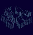 wireframe houses standing nearby isometric vector image vector image