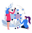 women chemists or biologists scientists and vector image