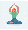 young woman in lotus position while meditating vector image vector image