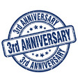 3rd anniversary blue grunge stamp vector image vector image