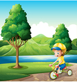 A boy playing with his small bike vector image vector image