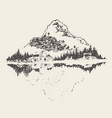 beautiful cozy house lake mountain sketch vector image vector image