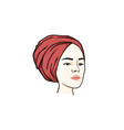 beautiful turban girl hairstyle icon logo vector image vector image