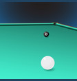 billiard table with a corner pocket and two balls vector image vector image