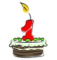 birthday cake with number one on white background vector image