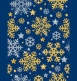 blue christmas pattern with golden snowflakes vector image vector image