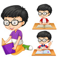 Boy with glasses reading book vector image vector image