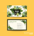 business card name card design with green leaves vector image