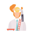businessman searching for idea in persons head vector image vector image