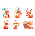 cartoon fox characters orange fluffy wild animals vector image vector image