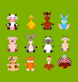 cartoon set cute farm animals vector image vector image