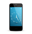 clock on mobile phone screen vector image vector image