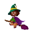 Cute African American Girl Witch on the Broom vector image vector image