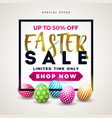 easter sale with color painted egg on vector image