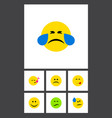 flat icon expression set of tears descant vector image vector image