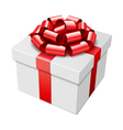 gift box with red bow isolated on white vector image vector image