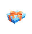 gift icon present packaging with ribbon bow vector image vector image
