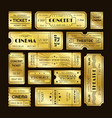 golden tickets admit one gold movie ticket set vector image