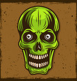 green skull of zombie cartoon vector image