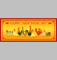 happy new year 2017 card with chicken 4 vector image