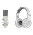 Headphones and microphon vector image vector image