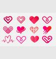 heart logo abstract creative icons set vector image vector image