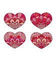hearts set decorative mandala ornament vector image