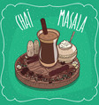 indian tea masala chai with spices and herbs vector image vector image