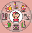 infographic set of beauty cosmetic icons and woman vector image