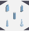 isometric skyscraper set of skyscraper urban vector image vector image