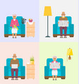 leisure for pensioners reading newspaper vector image