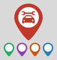map pointer with car service icon on grey vector image vector image