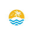 palm coconut tree island ocean sea beach logo vector image