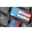 personal branding on computer keyboard key button vector image vector image